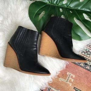 Zara Genuine Leather Black Wedge Booties - 38